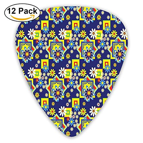 Spring Nature Flower Daisy Blooms And Mix Geometric Squares Retro Print Guitar Picks 12/Pack Set -