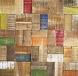 3D Wandverkleidung Wandfliesen I Multicolor Wood I nachhaltige Recycling Holzwand Wandpaneele I Moderne Wanddekoration Wohnzimmer, Küche
