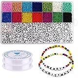 KDOI 5000Pcs Beads Kit, 3Mm Glasperlen, Alphabet Buchstaben Perlen und Herzform Perlen für Name Armbänder Schmuckherstellung
