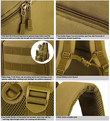 Huntvp Rucksack 40L Erwachsene Taktischen Molle Militär Large Laptop Pack Taschen Wasserdicht für Camping Wandern Hikking Bergsteigen - 38 x 48 x 23 cm Braun