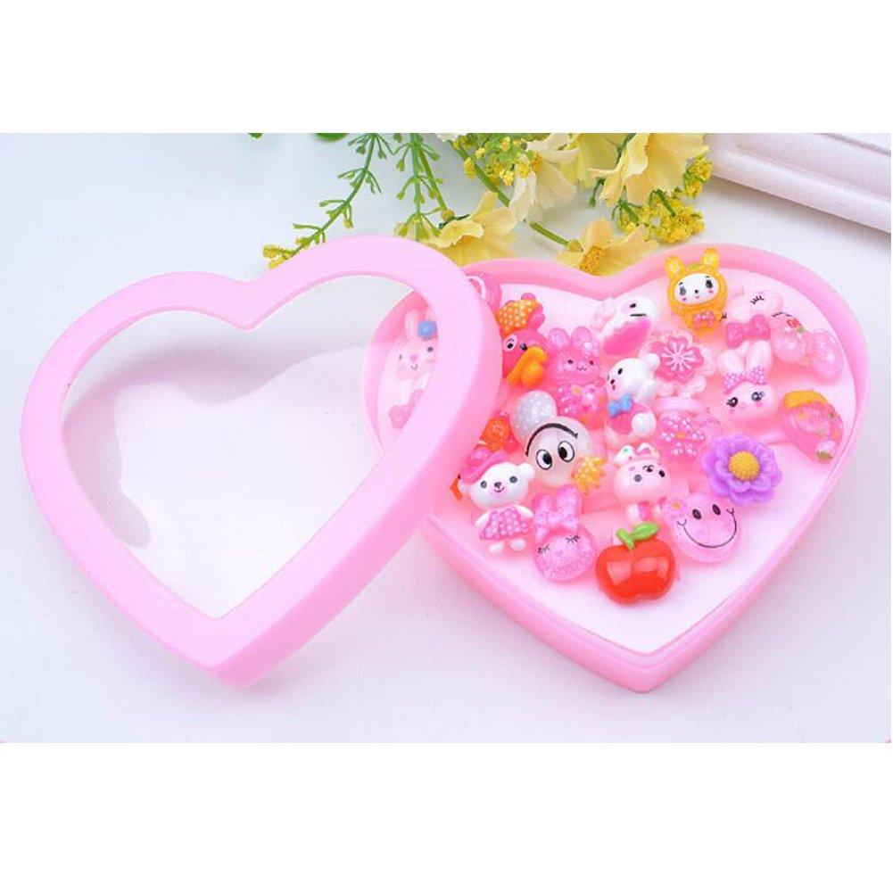 Ocamo Cartoon Rings 24Pcs Cute Adjustable Mixed Kids' Girls' Pink Animal Flower Fruit Polymer Resin Cartoon Rings…