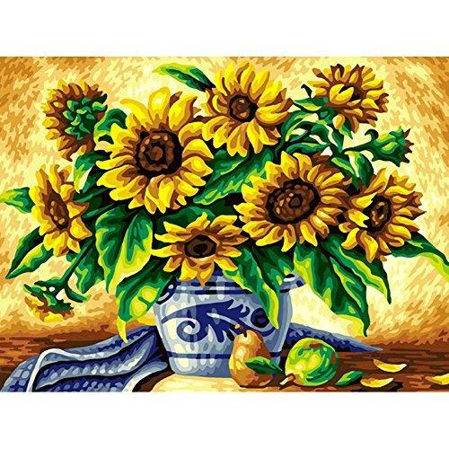 mxjsua DIY 5D Diamant-Malerei Von Nummer Kits Full Strass Stickerei Kreuzstich Bilder Arts Craft für Home Wand-Dekor, Sonnenblumen in vase-14X 45,7