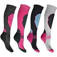 4 Pairs High Performance Ladies Ski Socks Long Hose Thermal Socks-Assorted-UK 4 - 7