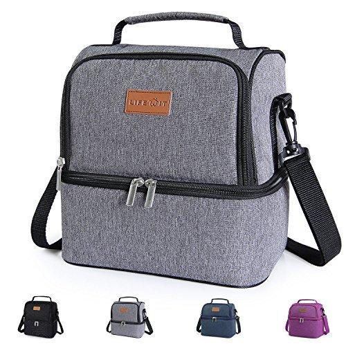 Lifewit Lunchtasche Mittagessen Tasche Thermotasche Kühltasche Isoliertasche Picknicktasche für Lebensmitteltransport 7L,Grau Große Mittagessen-tasche Mit Fächern