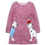 Baby Mädchen Prinzessin Kleid Cartoon Tiere Lange Ärmel/Kurzarm T-Shirt Jerseykleid mit Streifen Crewneck Kleid (7 Jahre, Rot-Hund)