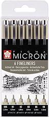 PIGMA MICRON Fineliner SET (6 Stifte, schwarz)