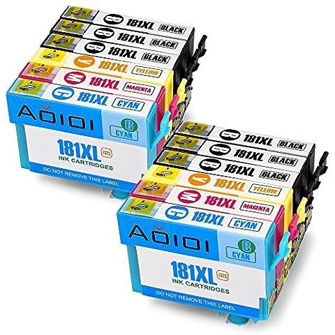 Aoioi Compatible 18 18XL Remplacement pour Epson 18XL(T1811 T1812 T1813 T1814) Cartouches d'Encre Compatible avec Epson Expression Home XP-102 XP-202 XP-205 XP-212 XP-215 XP-225 XP-30 XP-33 XP-302 XP-305 XP-312 XP-315 XP-322 XP-325 XP-402 XP-405 XP-405WH XP-412 XP-415 XP-422 XP-425 Imprimante (6 Noir, 2 Cyan, 2 Magenta, 2 Jaune)