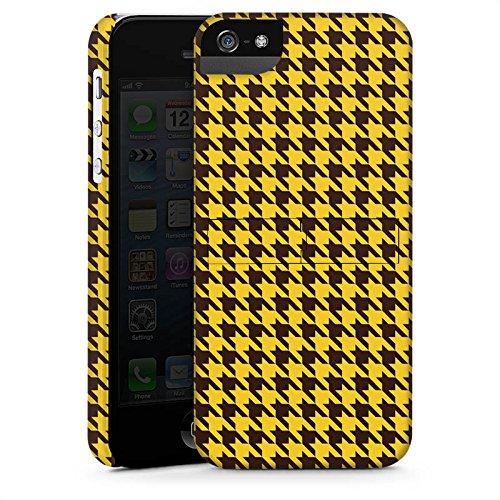 Apple iPhone X Silikon Hülle Case Schutzhülle Hahnentritt Braun Gelb Premium Case StandUp