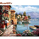 HITSAN RUOPOTY Venice Resorts Seascape DIY Painting By Numbers Handpainted Oil Painting