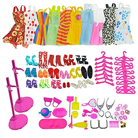 ASIV 10 Dress, 10 Hangers, 14 Pairs Shoes, 2 Doll Display Stand holders, Jewelry accessories, Household items for Barbie Doll, 68