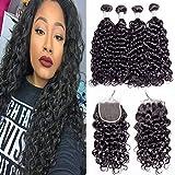 3 lots d'extensions de cheveux ondulés Maxine avec fermeture en dentelle suisse 4x4 - Cheveux vierges 10A d'origine péruvienne non traités - Brillants comme s'ils étaient mouillés et ondulés, couleur naturelle
