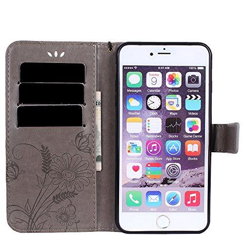 Custodia per iPhone 7 Plus Cover Pelle,SKYXD Colorata Fiore Formica Disegni 3D Morbida Flip Libro PU Pelle Portafoglio Custodia Case per iPhone 7 Plus Guscio Protettivo Coperture Antiurto 360 Protezio Grigio