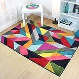 e-Rugs Moderne strahlend Puzzle handgeschnitzt Geometrische Muster Teppich, Multi–160x 230cm