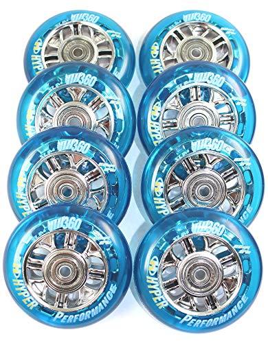 Hyper 4er/8er NX-360 Speed-Rollen Set 80mm / 84a für K2 Skates nur Rollen oder Inlinerrollen fertig montiert - Einbauen losfahren incl. Rollen + Kugellager+Spacer 6mm ... (8er Set Rollen+Lager+Spacer)