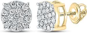 Diamond2Deal - Orecchini da uomo in oro giallo 10 kt, con diamanti rotondi, 3/8 ct