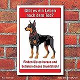 Schild Leben nach dem Tod Betreten verboten Freilaufender Hund 3 mm Alu-Verbund 300 x 200 mm