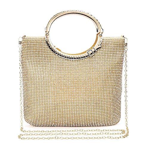 EULovelyPrice Damen Handgemachte Strass Handtasche, Abendtasche Damen Clutch Für Party Gold