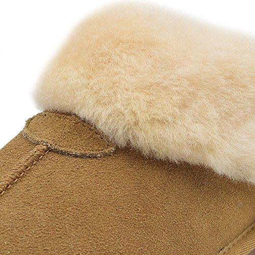Oasap Damen Fashion Winter Warm Veloursleder Wolle Slippers Grey