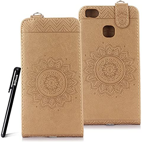 Case for Huawei P9 Lite wallet Embossed Flowers case,Huawei P9 mini Ceramic pattern flip cover,BtDuck protective case Earthly gold shell Retro Buddhism Solid color special Chinese Style skin Case for Open vertically Holster Full-body protection machine Totem Anti-scratch Shock Resistant Strong magnetic buckle Magnet Closure [with Lanyard Strap / Rope] Credit Card/Cash Holder Slot - Tuhao Gold angel's trumpet