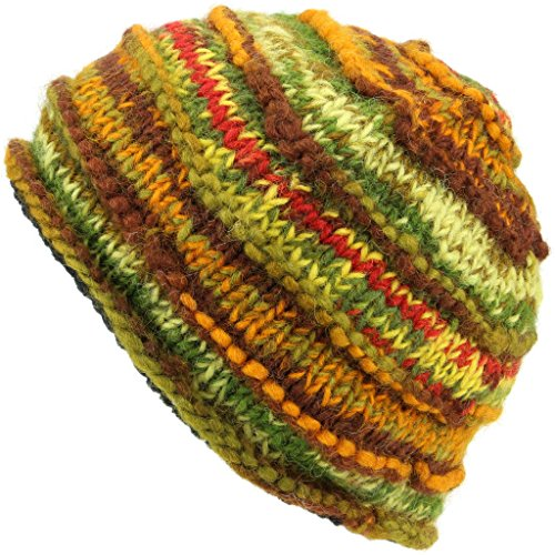 LOUDelephant Chunky Ribbed Wool Knit Beanie Hat With Space Dye Design