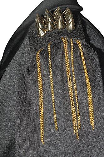 Fast Fashion – Peplum De Veste Manches Longues Des Pointes Plaine Bouton L'épaule - Femmes Gland Noir