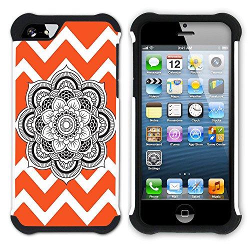 Graphic4You Mandala Blume Winkel Muster (Wasserblau) Hart + Weiche Kratzfeste Hülle Case Schale Tasche Schutzhülle für Apple iPhone SE / 5 / 5S Orange