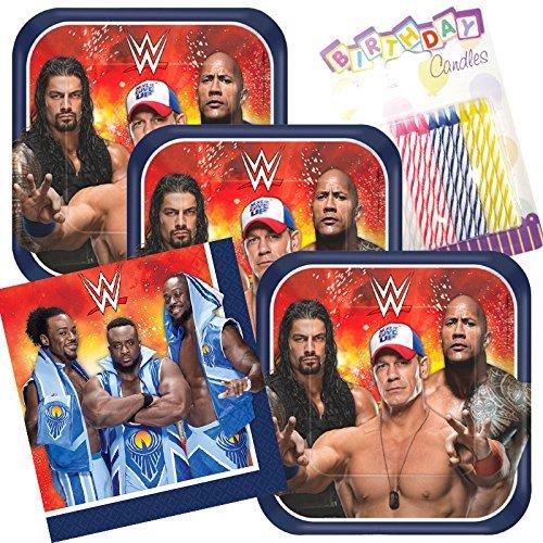 Lobyn Value Pack WWE Party Teller und Servietten dient 16mit Geburtstag Kerzen