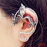 QHGstore 4pcs de oro de plata Hombres Mujeres gótica Rrtro Dargon Ear Cuff abrigo del clip del perno prisionero de plata antigua