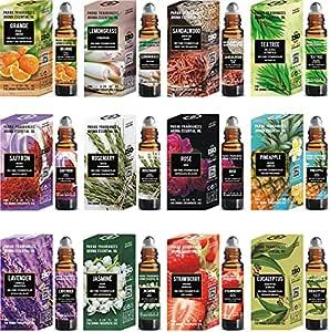 Parag Fragrances Essential Oils Set of Lavender, Tea Tree, Rosemary, Pineapple, Jasmine, Strawberry, Eucalyptus, Rose, Lemongrass, Sandalwood, Orange & Saffron