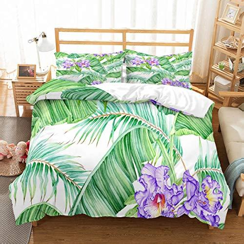 MOUMOUHOME Erwachsene Lila Blumen Bettwäsche Set (3 Stück mit 1 Bettbezug 1 Kissenbezug),3D Druck Bananen Blätter Mikrofaser Grün Bettbezug-Set,Keine Bettdecke,260x220cm - Und Lila Grün Tröster
