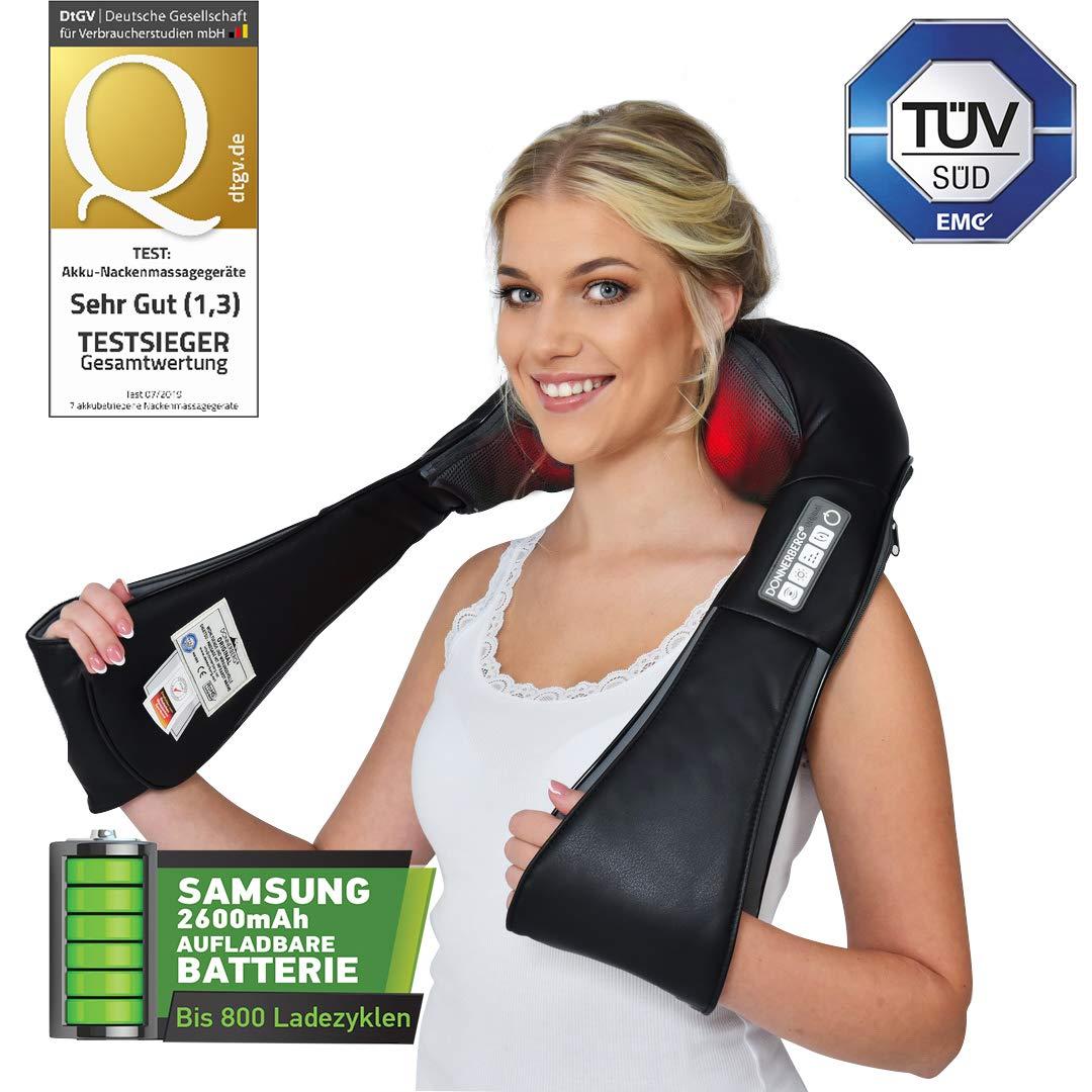 Donnerberg NM090 Nackenmassagegerät mit Akku, 4D Vibration, kabellos