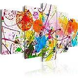 murando - Bilder 200x100 cm - Vlies Leinwandbild - 5 Teilig - Kunstdruck - Modern - Wandbilder XXL - Wanddekoration - Design - Wand Bild - Abstrakt Bunt Farbflecken f-C-0100-b-n