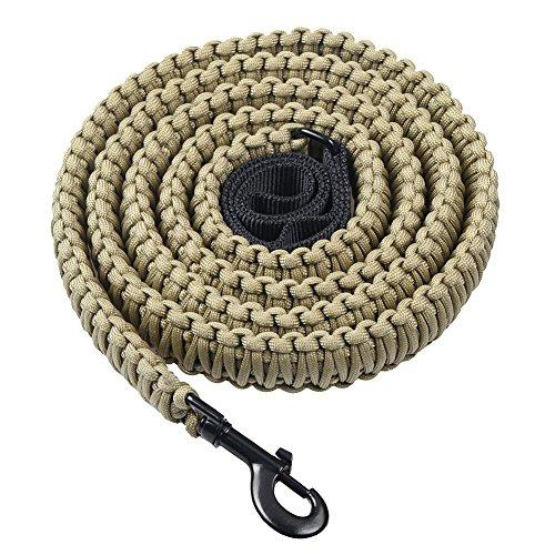 Lifeunion Handgefertigt 550Paracord Hund Leinen, 6Füße Heavy Duty Geflochtenen Seil Haustier Leine Big Breed Dog Supplies, L, Khaki -