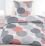 KH-Haushaltshandel Seersucker Bettwäsche, 135 x 200 +80x80 cm, Bügelfrei, Orange Grau Punkte, Microfaser + Waschhandschuh (60301)