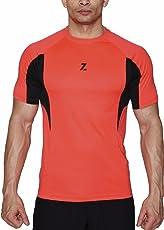 Azani Men's Sub-Zero Tech Short Sleeve Workout Fitness Sports Gym Wear Diablo Orange/Black T-Shirt