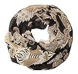 ManuMar Loop-Schal für Damen | Hals-Tuch mit Federn-Motiv als perfektes Sommer-Accessoire | Schlauch-Schal in Schwarz Beige - Das ideale Geschenk für Frauen