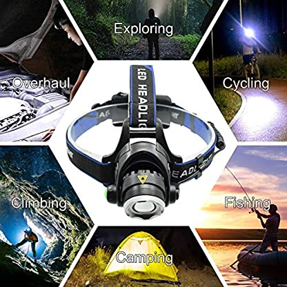 WASAGA Head Torch, 2000 Lumen 5000 Lumen Zoomable Rechargeable LED Headlamp Headlight Flashlight, Waterproof Adjustable LED Headlamp, Perfect for Running, Walking the dog, Camping, Reading 7
