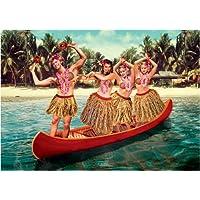 "Bikini everyday cards 5""x7"" Girls in Hawaii skirts - Greeting Card max hernn"