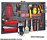 Werkzeugwand Panele 26-tlg. Set 2 x 25 x 80 cm Schwarz Rot PP