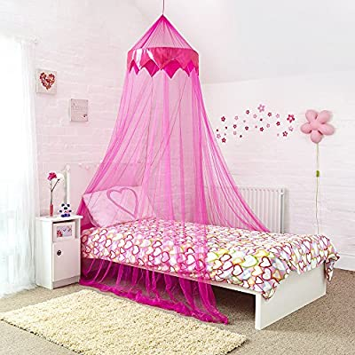 Princess Bed Canopy – Stunning Childrens Bed Canopy With Satin Pink Panel - Quick and EasyTo Hang Girls Bedroom Accessories - Perfect Gift for Girls, Daughters and Granddaughters