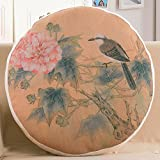 Teebxtile Cushion Covers Bolster Throw Pillow Covers Ink Lotus round cushion Chinese pillow cotton linen sofa cushion the head office of the Back Lumbar support floating window washer ,FR15311-5,45*45CM round Pillow