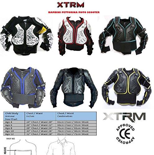 XTRM MOTOCROSS BAMBINI PETTORINA MOTO CORAZZA OFF ROAD QUAD PITBIKE KIDS DORSALI ARMOUR (10anni / L, BIANCO ROSSO)