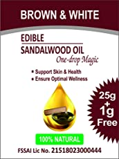 Brown & White Edible Sandalwood Oil (One-drop MAGIC) with Carom, linseeds & Prunus dulcis extracts, 100% Veg - 25 ml