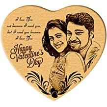 Incredible Gifts India Heart Shaped Special Engraved Photo On Wood - Gift For Her And Him