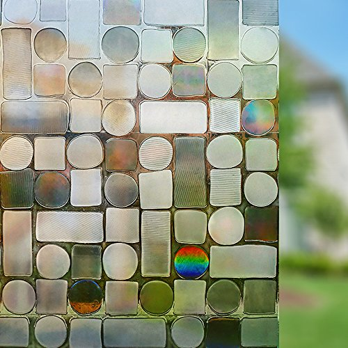 Rabbitgoo Sichtschutz Fensterfolie Statisch Dekorfolie Sichtschutzfolie Anti-UV 3D Fensterschutzfolie Ohne Klebstoff Selbsthaftend dunkelbraun Rund Muster 44.5*200cm für Privatleben Wohnung Büro