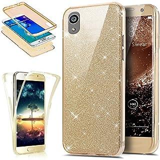 Kompatibel mit Sony Xperia Z5-360 Grad Handyhülle Kristall Bling Glänzend Glitzer Durchsichtig Rundum-Schutz Full Cover Komplett Schutzhülle TPU Silikon Crystal Case Handy Tasche,Gold