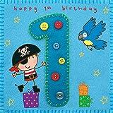 twizler 1. Geburtstag für Jungen, mit Pirat und Papagei–Ein Jahr alt–Alter 1–Kinder Geburtstag Karte–Jungen Geburtstag–Happy Birthday Karte