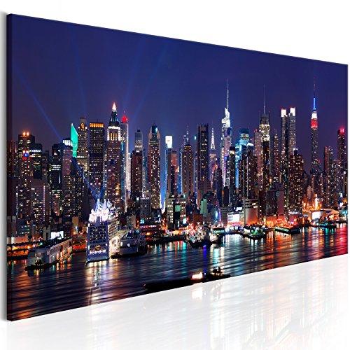 murando - Bilder New York 135x45 cm - Leinwandbilder - Fertig Aufgespannt - Vlies Leinwand - 1 Teilig - Wandbilder XXL - Kunstdrucke - Wandbild - Skyline New York NY Stadt City d-B-0185-b-b
