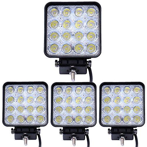 Leetop Arbeitsscheinwerfer für Fahrzeuge mit 48 W, quadratisch, 4800 lm, LEDs, Flutlicht für Wagen wie Geländewagen, SUVs, Jeeps, Busse, Fahrzeuge, IP67 4 Paquetes 48W Cuadrado