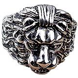 Anyeda Partner Ringe Er/Sie Edelstahl Vintage Leo Muster Black Boss Bands Signet Damenring Tricolor Größe 62 (19.7)